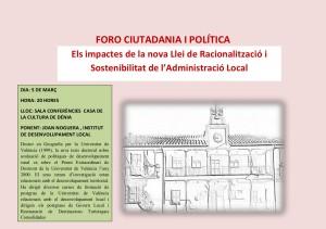 FORO CIUTADANIA I POLÍTICA 5-03-2014